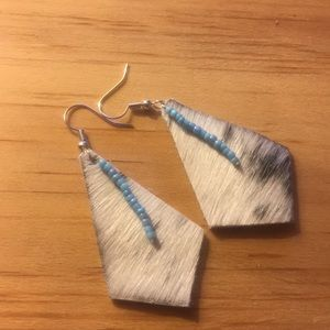 Cowhide beaded earrings